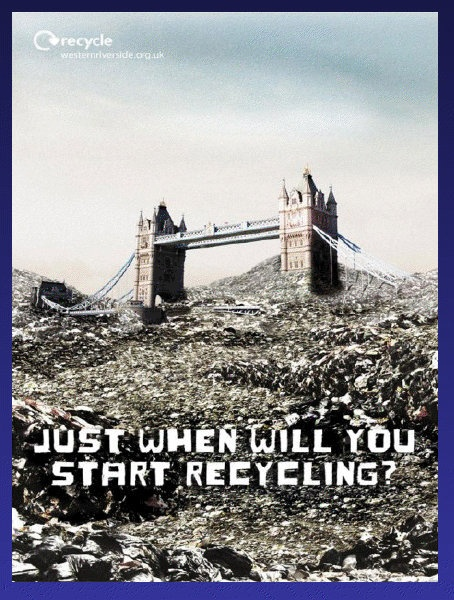 This ad about recycling relates to chapter 9, when it talks about persuading people in the form of a question. The way you word a question can change how people become influenced by it. This question defines what the issue is, recycling, and the image helps us get a glimpse into our supposed future if we don't start recycling soon, which is their way of leading us to the right thing to do and why we should be thinking about it.