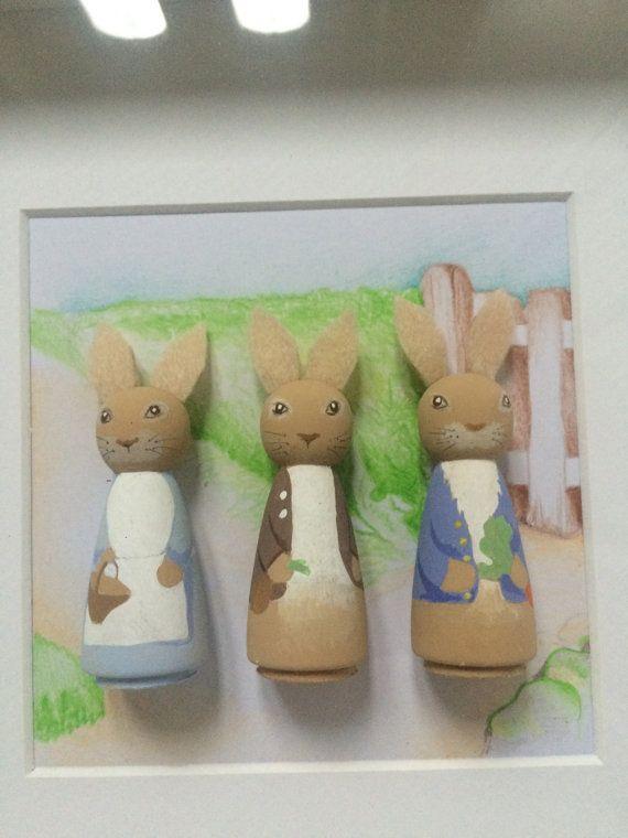 Peter rabbit peg dolls by LittledolldesignsGB on Etsy