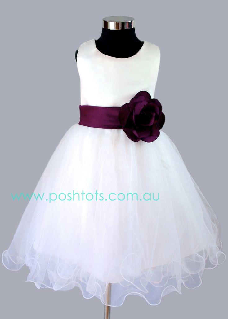 """Alexys"" girls party dress in Grape. sizes 2-8. www.poshtots.com.au"