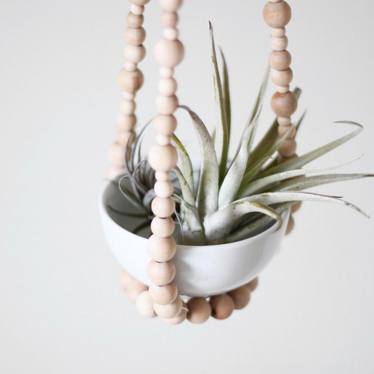Tiered small beaded plant hanger / scandinavian modern decor / natural wood beads. $68.00, via Etsy.