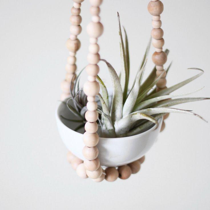 Tiered small beaded plant hanger / scandinavian modern decor / natural wood beads. $68.00, via Etsy.
