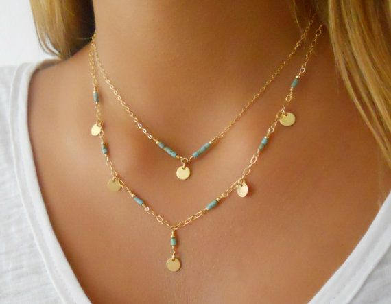 Turquoise Necklace Set of 2 Necklaces Layered Necklace 14K