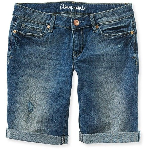 Aeropostale Womens Bermuda Casual Denim Shorts (100 CAD) ❤ liked on Polyvore featuring shorts, short jean shorts, denim bermuda shorts, denim short shorts, denim shorts and bermuda shorts