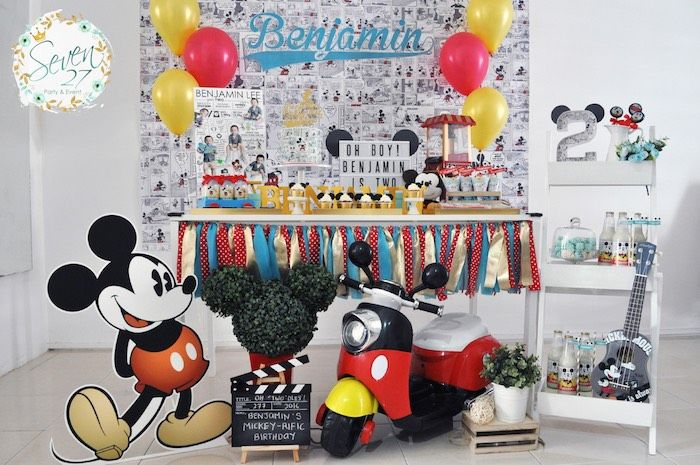 Iconic partyscape from Vintage Mickey Mouse Themed Birthday Party at Kara's…