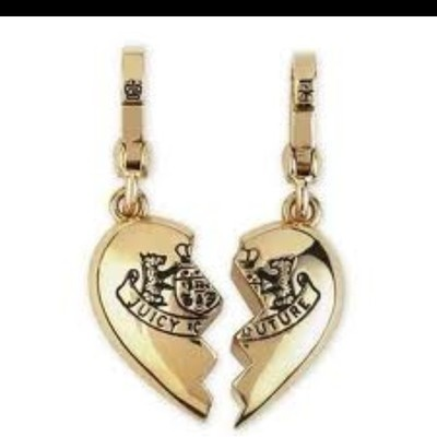 Juicy Couture broken heart gold charm, Lindsey and I each have a half