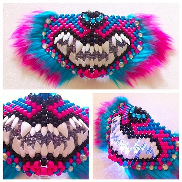Kandi cheshire cat mask by DirtyCatDesigns. Love the lights behind the transparent beads!