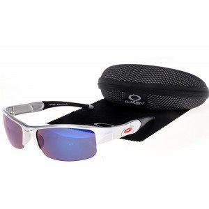 Oakley Flak Jacket xlj Silver Black Frame Blue Lens Sunglasses