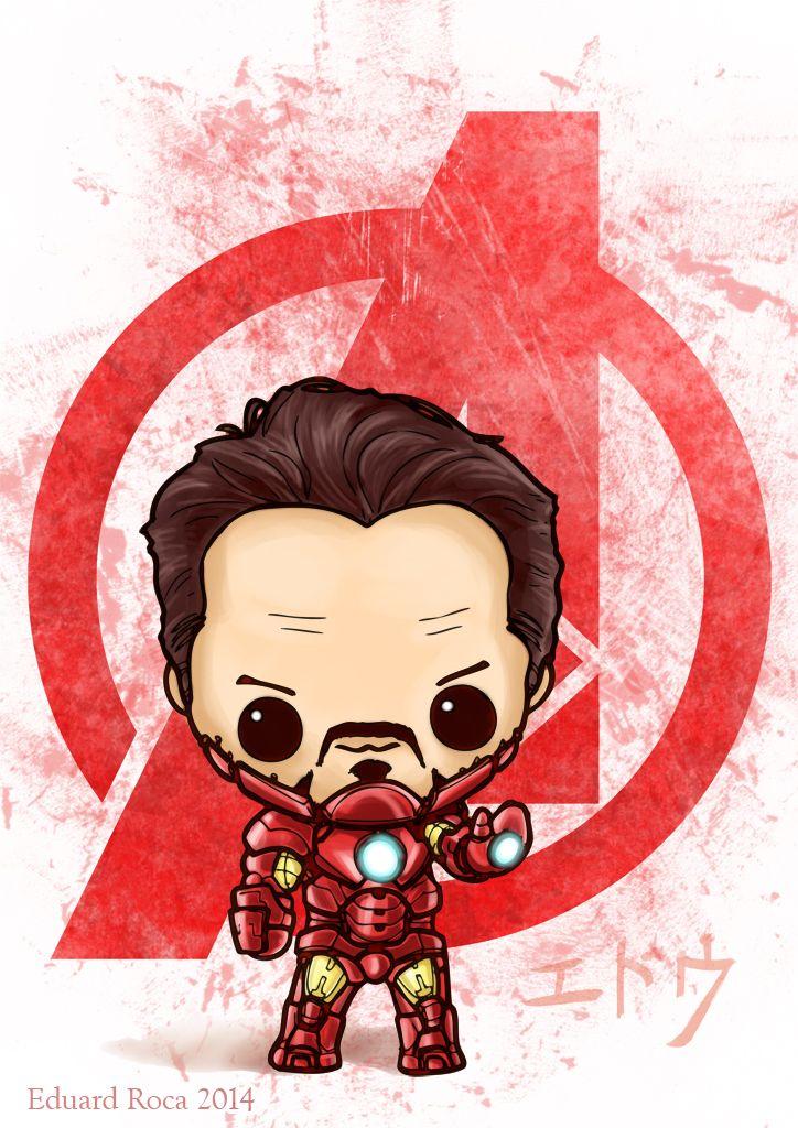 Diseño para Tony Stark con la Mark IV #kawaii #cute #tony_stark #iron_man #avengers #nikochancomics