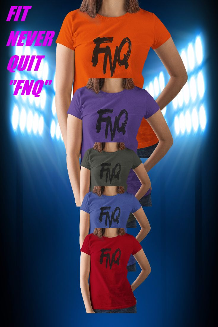 """FIT NEVER QUIT- FNQ Teespring Fitness Men's, Fitness Women's Logo T-Shirts - Revel in the comfort of the """"FIT NEVER QUIT"""" FNQ Logo Tee from Teespring, constructed from lightweight Teespring tech material to keep your workout comfort free.The FNQ logo is in screened print on the front of tee. Machine wash cold, tumble dry low. 100% Preshrunk Comfortsoft Cotton. Sizing offered: S-5XL Teespring premium tees.  Sale Price $17.99 BUY NOW at: https://teespring.com/fit-never-quit-fnq"""