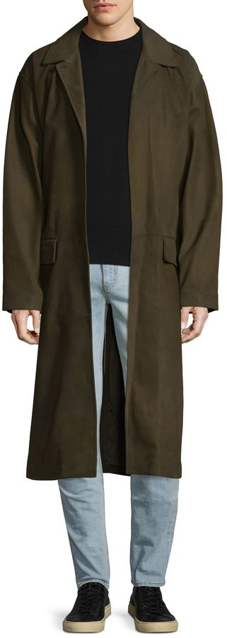 Yeezy Men's Leather Trench Coat