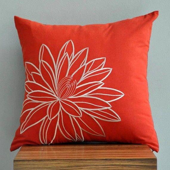 Lotus DecorativeThrow Pillow Cover Orange Pillow Beige by KainKain, $22.00