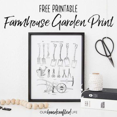 Free Printable – Farmhouse Garden Tools Print