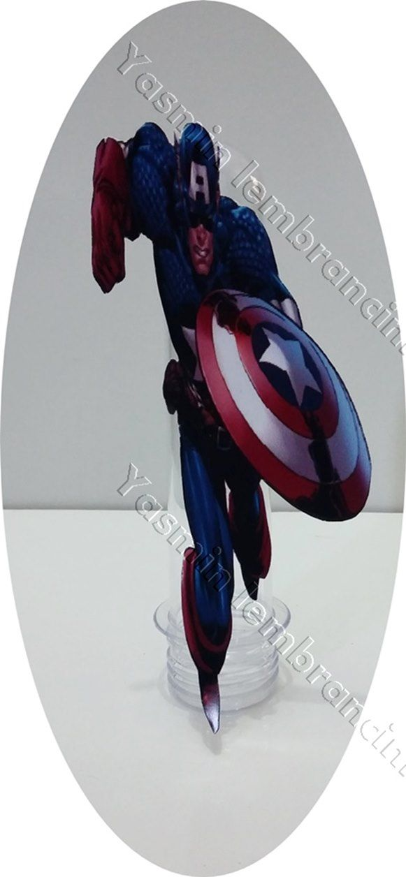 Tubete do Capitão America  Tamanho: Tubete de 13cm X 4cm    Decorado fica 13(altura) X 7.5 (largura).  Tampa vermelha ,azul ou Branca