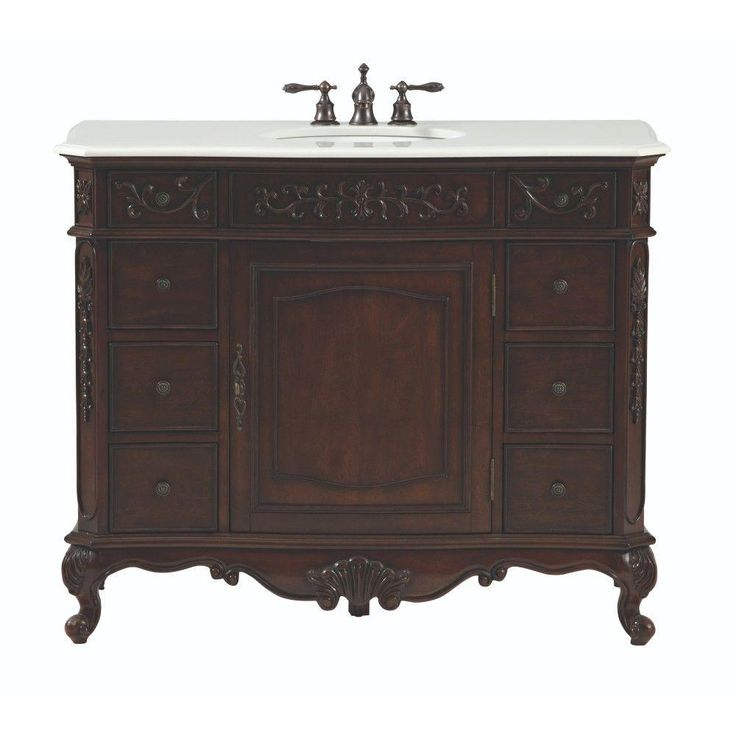 Home Decorators Collection Winslow 45 in. W Vanity in Antique Cherry with Marble Vanity Top in White with White Basin-9466800120 - The Home Depot
