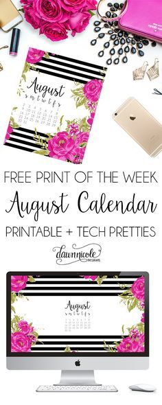 Free Print of the Week: August Calendar Print + Desktop Wallpaper | dawnnicoledesigns.com