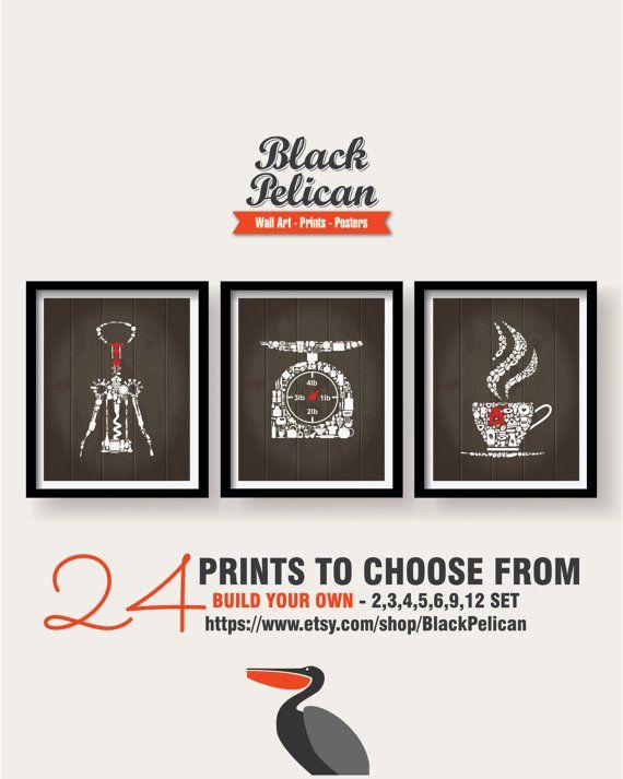 20% SALE   Kitchen Icons Decor   Kitchen Wall Art   Kitchen Prints   Kitchen  Art   Kitchen Poster   Housewarming Gift   Brown White Red