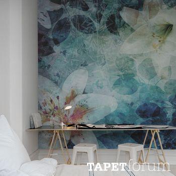 Aquarell grafisk blomster fototapet