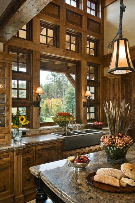 Rustic kitchen love the windows cabin fever pinterest for Windows for log cabins