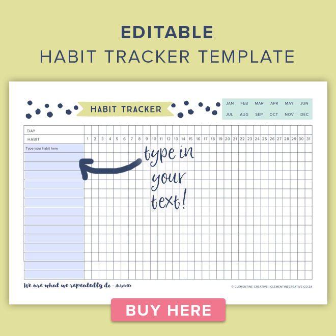 editable habit tracker template | Templates printable free ...