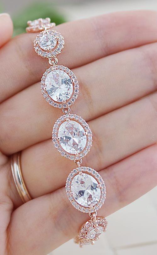 wedding jewelry bridal bracelet bridal jewelry bridesmaids gift bridal bracelet bridesmaid bracelet cubic zirconia oval halo style bracelet rose gold