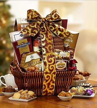 Resplendent Elegance Holiday Gift Basket from 1-800-Baskets.com.  What better way to ring in the holidays with friends and family than with a stunning hand-woven willow gift basket filled with Ghirardelli, ® Godiva, ® Fannie May® and Ferrero Rocher® chocolates and many other sweet and savory must-haves.  Get your rebate from RebateGiant.