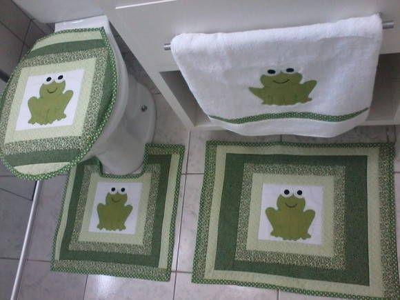 Conjunto de banheiro em patchwork 100% Algodão 4 pçs. R$ 210,00