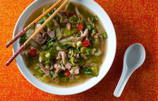 Hmong Squirrel Stew : garlic, lemongrass, chili, galangal, ginger, lime, fish sauce, bok choy, snow peas, sichuan peppercorn, stock, squirrel ; asian ; soup ; stew ; spicy