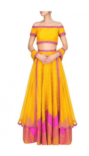 Yellow And Dark pink Art Silk Lehenga With Art Silk Choli - DMV10083