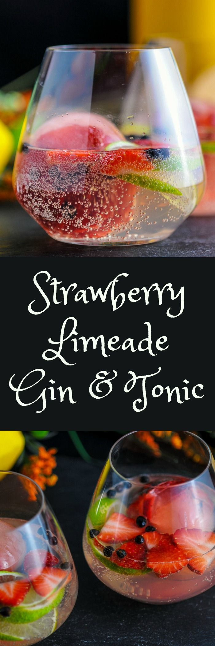 Strawberry Limeade Gin & Tonic - strawberries, limes, tonic water, gin, juniper berries, ice ball  recipe.
