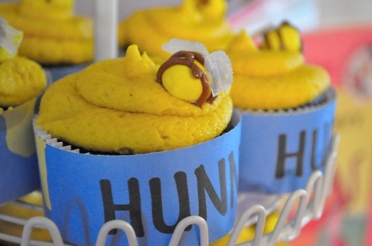 Honey Pot Cupcakes for a Winnie the Pooh Birthday.Birthday Parties, Pooh Birthday, Cupcakes Design, Honey Pots, Parties Ideas, Winnie The Pooh, Cupcakes Holders, Baby Shower, Pots Cupcakes