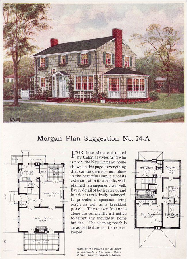 1923 classic colonial revival morgan traditional house for Classic colonial floor plans
