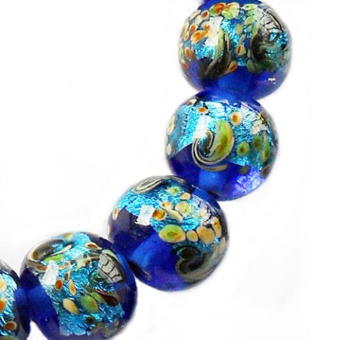Lampwork Glass Round Bead Sparkling Silver Blue 8 Beads 12mm (#a4r)