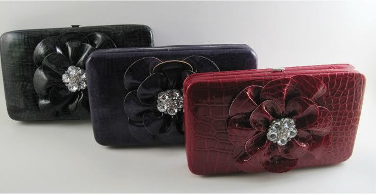 Flower Wallet Clutch Womens Faux Croc Black Hard Case