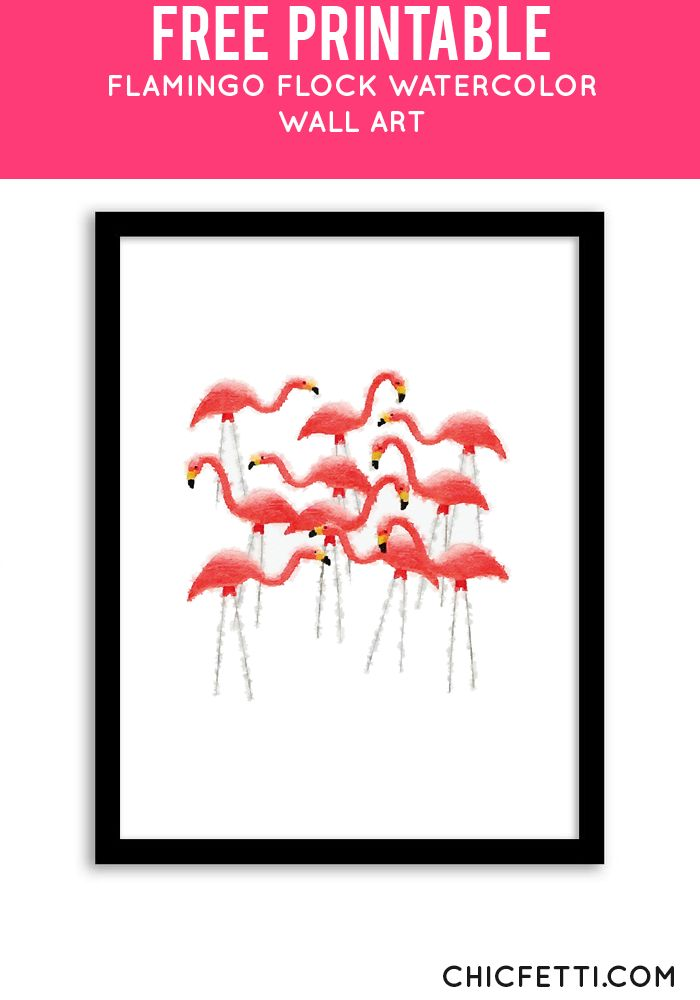 Free Printable Flamingo Flock Art from @chicfetti - easy wall art diy