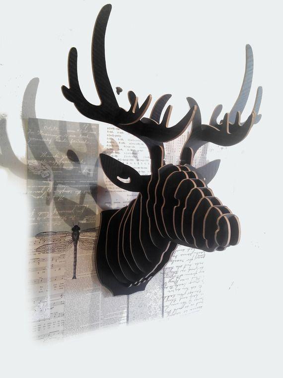 D coration murale t te de cerf m lamin noir 3d 28 40 cm for Decoration murale papillon 3d noir