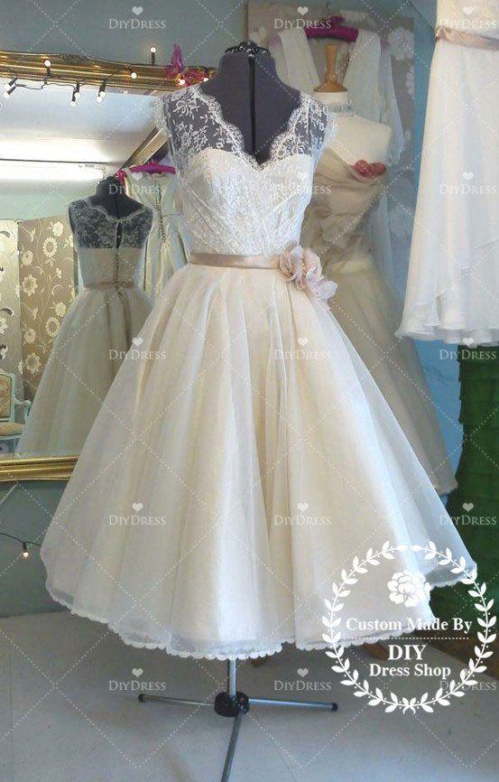 V-neck Lace Bodice Organza Skirt Short Wedding Dresses,Champagne Sash Bridal Gowns,Bride Dresses,Short Wedding Gowns