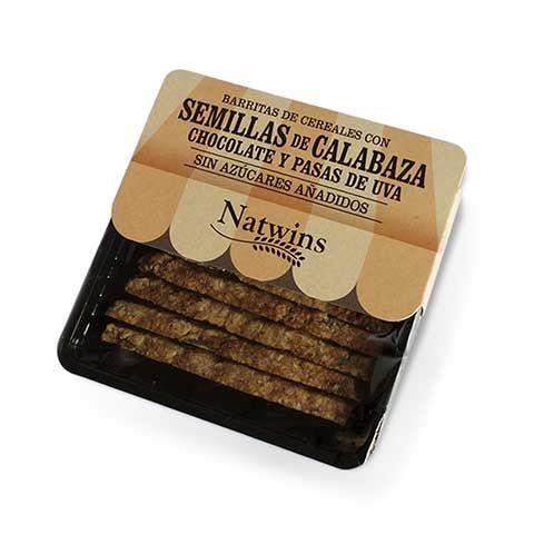 Natwins Barritas Semillas Calabaza Chocolate y Pasas 80g