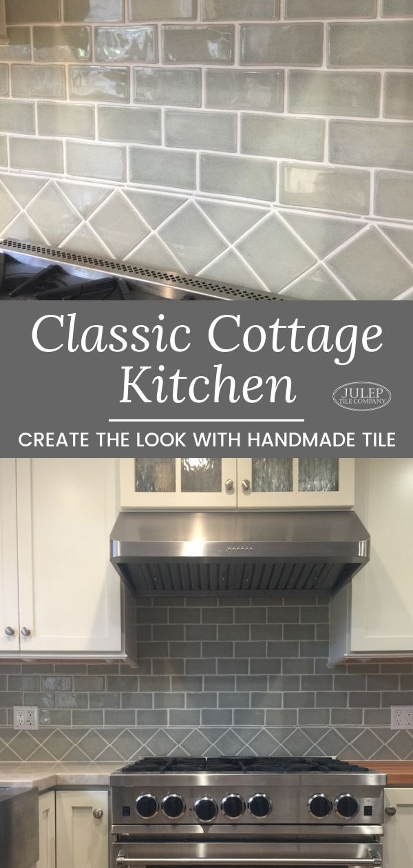 Classic Cottage Kitchen With Handmade Subway Tile 4x4 Decorative Border Glass Cabinet Doors Tiles Cottage Kitchen
