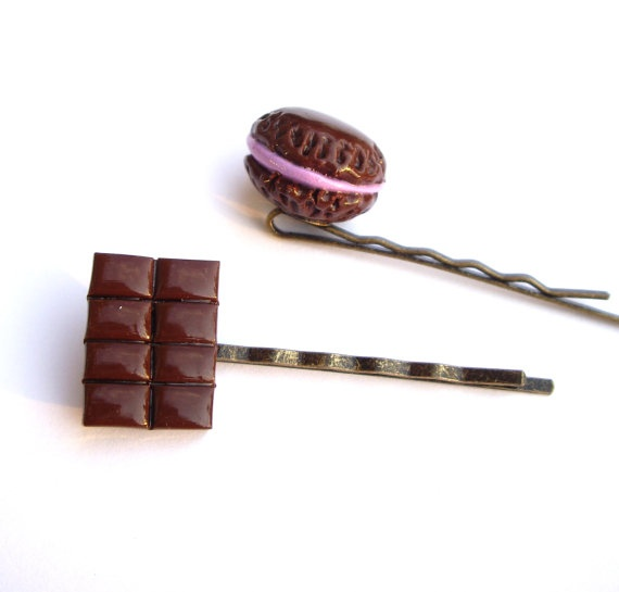 Hair pins Miniature food jewelry polymer clay dark Chocolate bar blueberry macaroon set of 2 Bobby #Hairpins #Miniature #food #jewelry #polymer_clay #dark #Chocolate #bar #blueberry #macaroon #Bobby @JP with Love $13