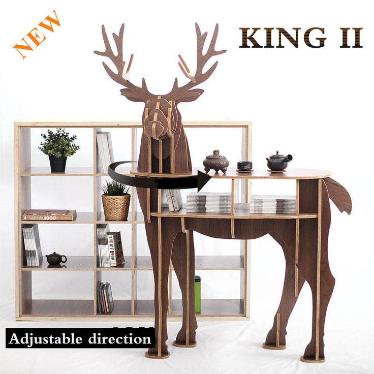 NEW! J & E Деревянный Олень домашнего декора журнальный столик КИНГА самодельных головоломки мебели купить на AliExpress