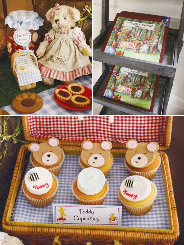 teddy-bear-birthday-party-cupcakesGummy Bears, Teddy Bears Birthday Picnics, Teddy Bears Picnics, Children Book Birthday Parties, Kids Children, Bears Birthday Parties, Bears Parties, Bears Cupcakes, Picnics Birthday