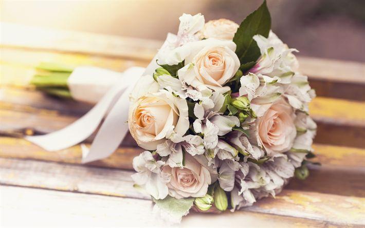 Hämta bilder bröllop bukett, 4k, lila rosor, brudbukett, bröllop, rosor
