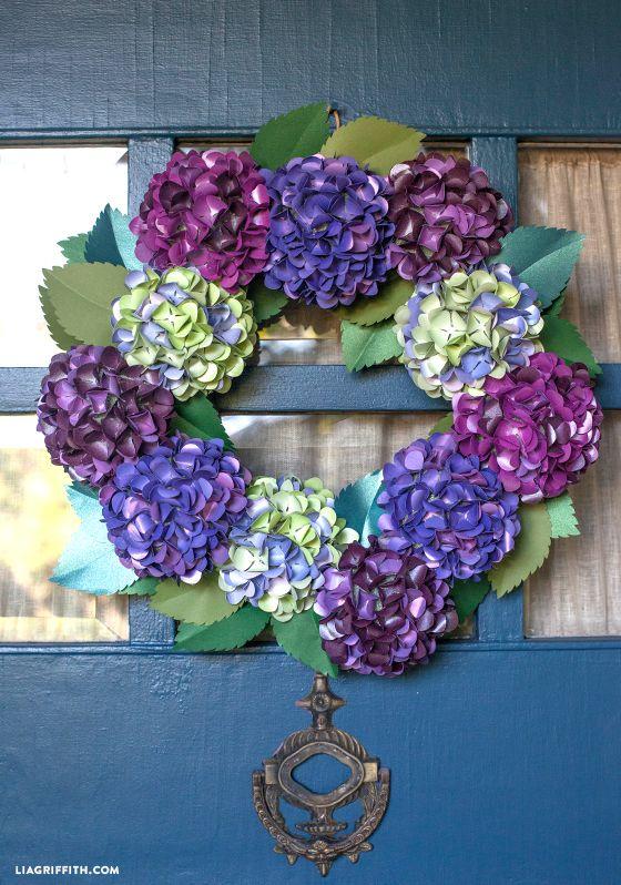 Make A DIY Paper Hydrangea Wreath for Fall