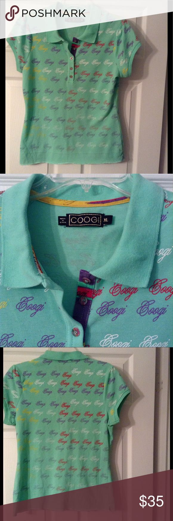 Mint Green Coogi Polo Shirt Pretty mint green polo shirt, has Coogi logo on back and front of shirt in all different colors.  There is a slight fading on the line of the collar where it folds, as shown in pics.  This isn't seen because it is folded.  In addition, it appears that the hem was let out, as the shirt is not hemmed.  Other than that, the shirt seems to be in very good condition.  Top is a size XL, that would fit a large better, as it tends to run a bit small.  Pix of patent…