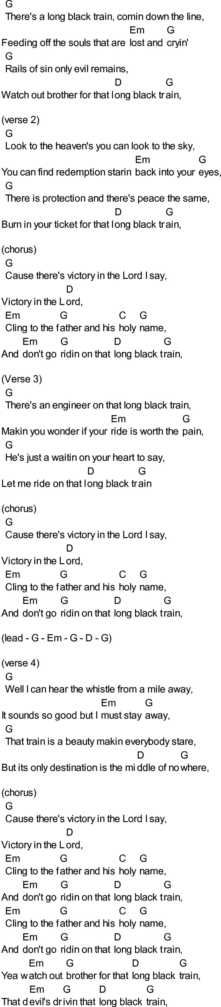 Bluegrass Songs With Chords  Long Black Train