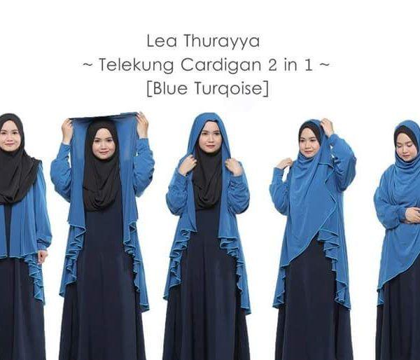 Telekung Cardigan Lea Thurayya 2in1 Blue Turquoise