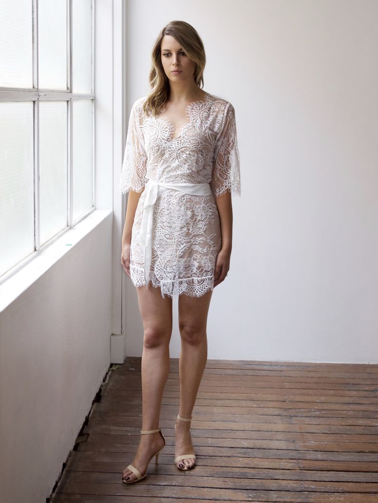 Pretty lace bridal robe for brides, bridesmaids or engagement parties. Designed by Bronte & Clyde - repin on your inspo board now!