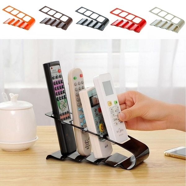 Practical Tool Plastic Remote Control High Phone Caddy 4 Slots Step Stand Holder Storage Organiser Box Vcr Dvd Tv Remote Control Holder Tv Stand Holder Organiser Box