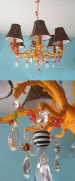 DIY color old bones of chandelier and put your own crystal touches