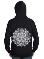 "Women's ""Skull Mandala"" Zip-Up Hoodie by Rudechix (Black) - XL"